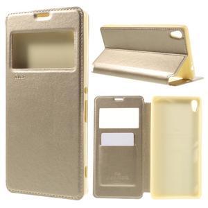 Richi PU kožené puzdro s okienkom na Sony Xperia XA Ultra - zlaté - 1