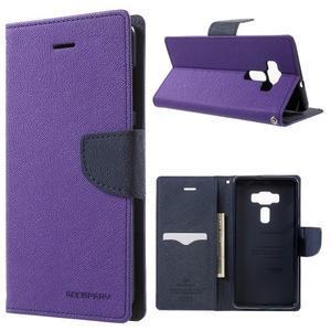 Diary PU kožené puzdro pre mobil Asus Zenfone 3 Deluxe - fialové - 1