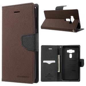 Diary PU kožené puzdro pre mobil Asus Zenfone 3 Deluxe - hnedé - 1