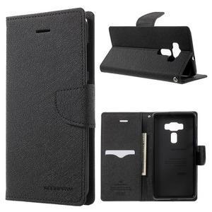 Diary PU kožené puzdro pre mobil Asus Zenfone 3 Deluxe - čierné - 1