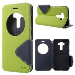 Diary puzdro s okýnkem na mobil Asus Zenfone 3 ZE520KL - zelené - 1