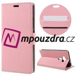 Leathy peňaženkové puzdro na Asus Zenfone 3 ZE520KL - růžové - 1