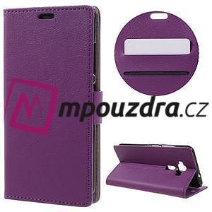Leathy peňaženkové puzdro na Asus Zenfone 3 ZE520KL - fialové - 1