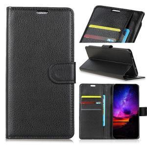 Litchi PU kožené peněženkové puzdro na Sony Xperia L3 - čierne - 1