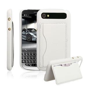 PU kožený kryt se stojánkem na BlackBerry Classic - bílé - 1