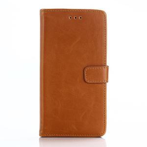PU kožené peňaženkové puzdro pre BlackBerry Leap - hnedé - 1