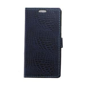 Croco style peňaženkové puzdro pre BlackBerry Leap - tmavomodré - 1