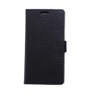 Croco style peňaženkové puzdro pre BlackBerry Leap - čierne - 1