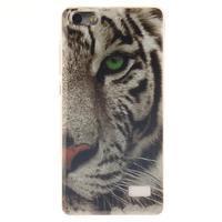 Gélový obal pre mobil Honor 4C - biely tiger - 1/5