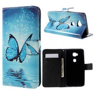 PU kožené pouzdro na mobil Honor 5X - motýl - 1