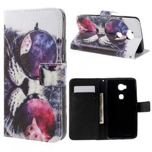 PU kožené puzdro pre mobil Honor 5X - cool mačka - 1
