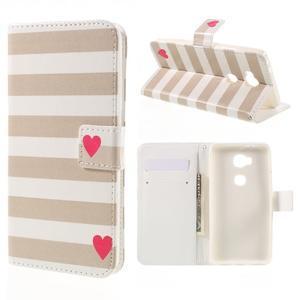PU kožené puzdro pre mobil Honor 5X - srdca - 1