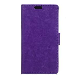 Horse Peňaženkové koženkové puzdro pre Huawei Honor 5X - fialové - 1