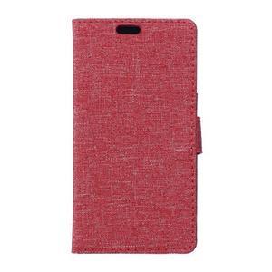 Textilné/koženkové puzdro pre Honor 5X - červené - 1
