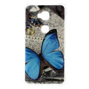 Drop gelový obal na Huawei Honor 5X - modrý motýl - 1