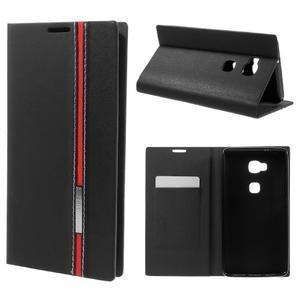 Klopové PU kožené puzdro pre Huawei Honor 5X - čierne - 1