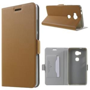 Peňaženkové PU kožené puzdro pre mobil Honor 5X - hnedé - 1