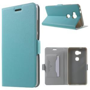 Peňaženkové PU kožené puzdro pre mobil Honor 5X - modré - 1
