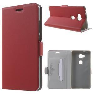 Peňaženkové PU kožené puzdro pre mobil Honor 5X - červené - 1