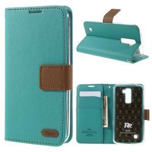 Style PU kožené puzdro pro LG K10 - zelenomodré - 1