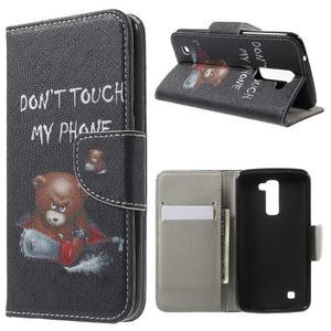 Wall peňaženkové puzdro pre LG K10 - medvedík - 1