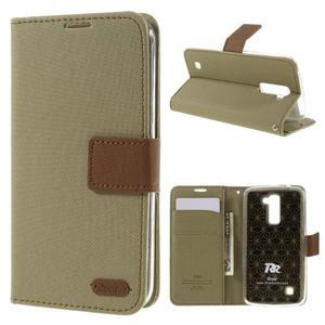Style PU kožené pouzdro pro LG K10 - khaki - 1