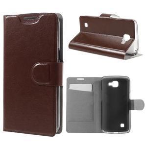 Horse PU kožené pouzdro na mobil LG K4 - hnědé - 1