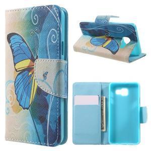 Peňaženkové puzdro na mobil Samsung Galaxy A3 (2016) - modrý motýl - 1
