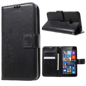 Butterfly peňaženkové puzdro na Microsoft Lumia 535 - čierné - 1