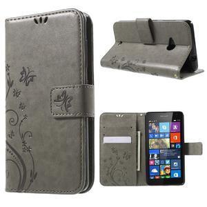 Butterfly peňaženkové puzdro na Microsoft Lumia 535 - šedé - 1