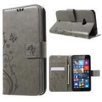 Butterfly peňaženkové puzdro na Microsoft Lumia 535 - šedé - 1/7