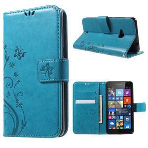 Butterfly peňaženkové puzdro na Microsoft Lumia 535 - modré - 1