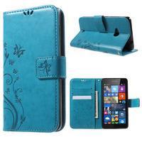 Butterfly peňaženkové puzdro na Microsoft Lumia 535 - modré - 1/7