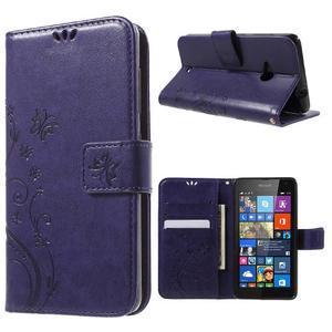 Butterfly peňaženkové puzdro na Microsoft Lumia 535 - fialové - 1