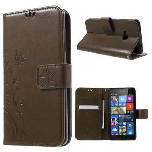 Butterfly peňaženkové puzdro na Microsoft Lumia 535 - coffee - 1