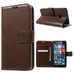 Butterfly peňaženkové puzdro na Microsoft Lumia 535 - hnedé - 1