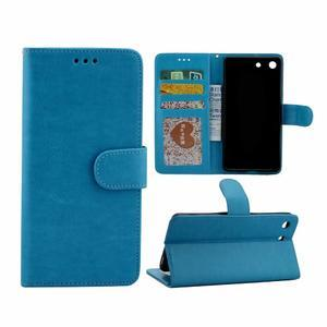 Horse PU kožené pouzdro na Sony Xperia M5 - modré - 1