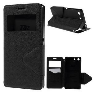 Diary puzdro s okienkom na Sony Xperia M5 - čierne - 1