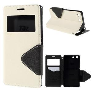 Diary puzdro s okienkom na Sony Xperia M5 - biele - 1