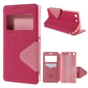 Diary puzdro s okienkom na Sony Xperia M5 - rose - 1