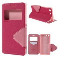 Diary puzdro s okienkom na Sony Xperia M5 - rose - 1/7
