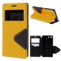 Diary pouzdro s okýnkem na Sony Xperia M5 - žluté - 1/7