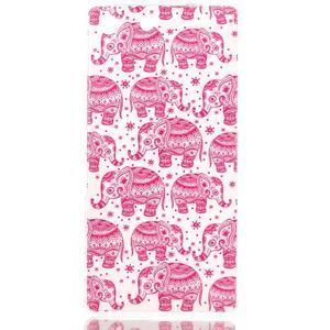 Style gélový obal pre Sony Xperia M5 - ružoví slony - 1