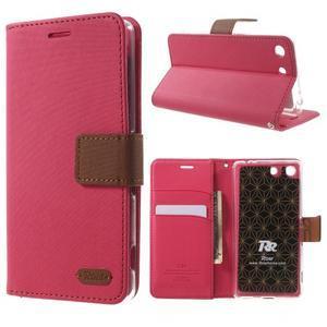 Wall PU kožené puzdro pre mobil Sony Xperia M5 - rose - 1