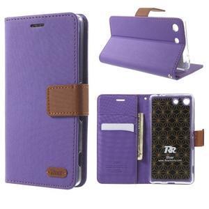 Wall PU kožené pouzdro na mobil Sony Xperia M5 - fialové - 1