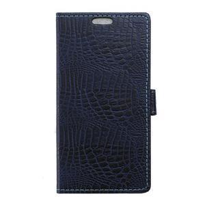 Peňaženkové puzdro s textúrou krokodílej kože na Sony Xperia M5 - tmavomodré - 1