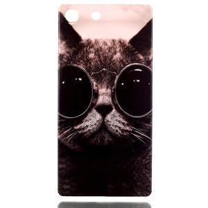 Style gélový obal pre Sony Xperia M5 - kocúr - 1