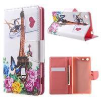 Stand peněženkové pouzdro na Sony Xperia M5 - růže s Eiffelovou věží - 1/7