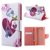 Stand peněženkové pouzdro na Sony Xperia M5 - láska Eiffelka - 1/7