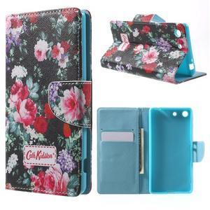 Stand Peňaženkové puzdro pre Sony Xperia M5 - kvitnúce ruže - 1